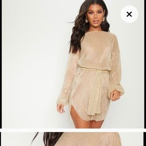 NWT Gold Coverup Metallic Dress Size Small